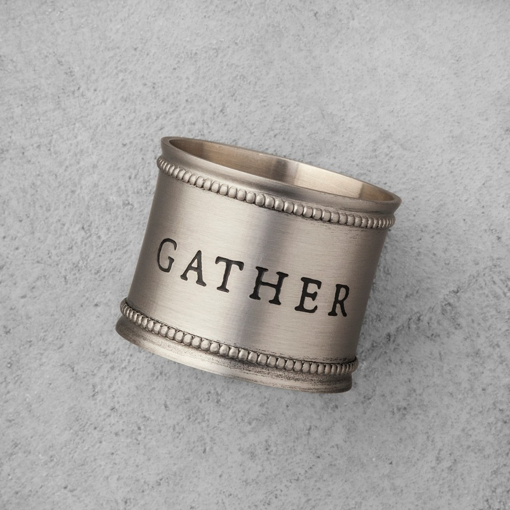 Napkin Ring Pewter - Set of 4 - Gather, Merry, Joy, Peace - Hearth & Hand with Magnolia