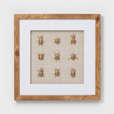 Gold Insects Shadowbox Decorative Wall Sculpture White - Threshold™