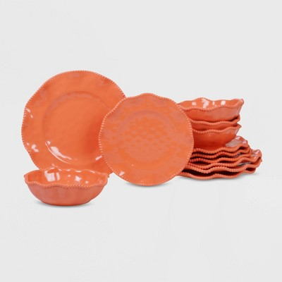 12pc Melamine Perlette Dinnerware Set Coral - Certified International
