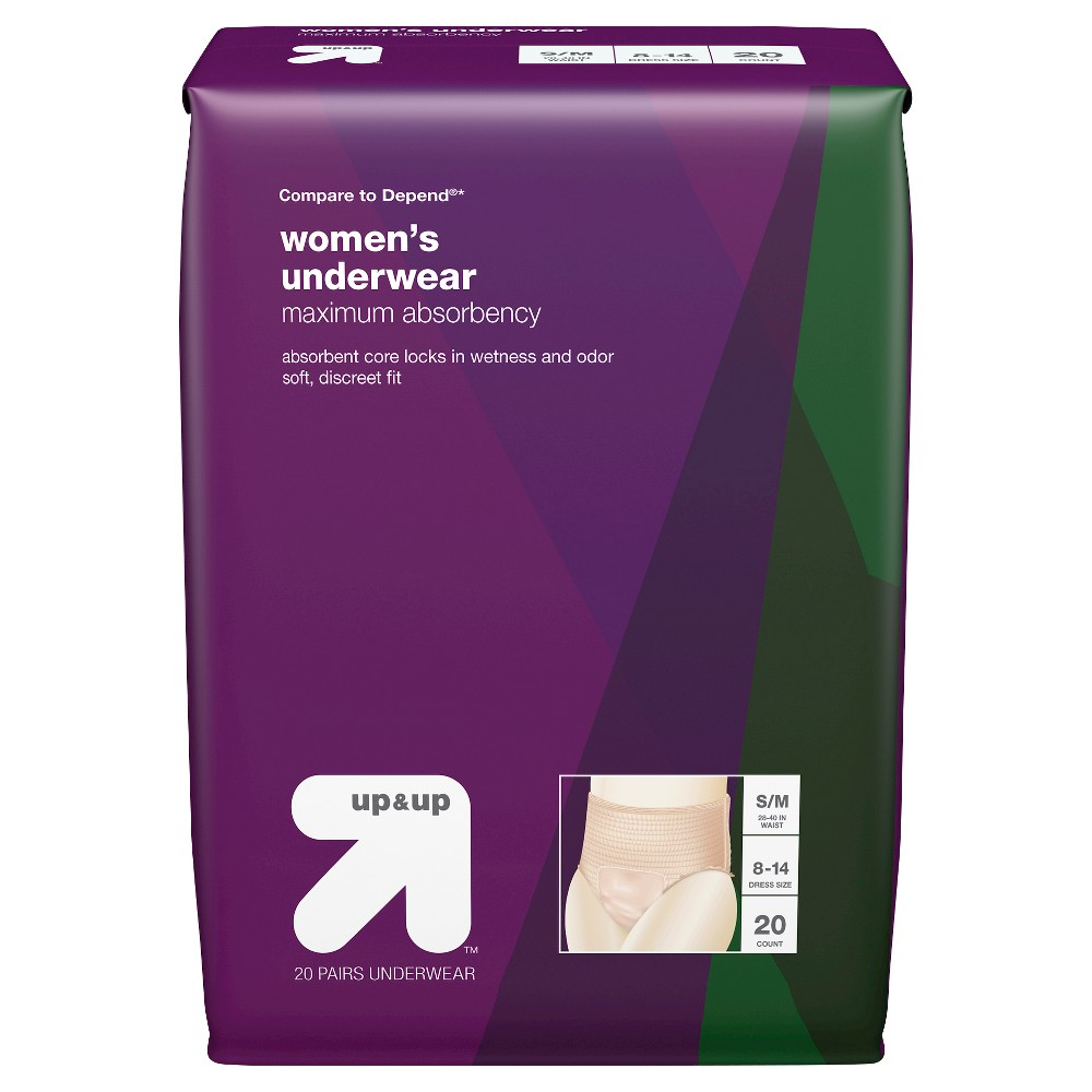 Women's Incontinence Underwear- Small/Medium, 20ct- Up&Up (Compare to Depend), White