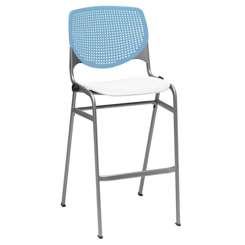 Kool Stack Barstool With Back Sky Blue White Kfi