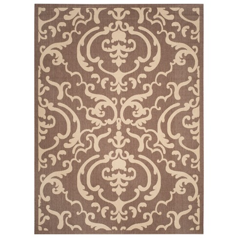 Hinshaw Rectangle 9' X 12' Outdoor Rug - Chocolate / Natural - Safavieh® - image 1 of 4