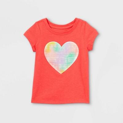 Toddler Girls' Heart Tie-Dye Short Sleeve T-Shirt - Cat & Jack™ Coral