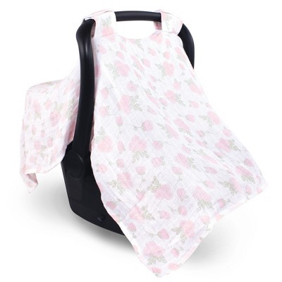 Hudson Baby Infant Girl Muslin Cotton Car Seat and Stroller Canopy, Pink Rose, One Size