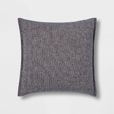Oversize Square Woven Herringbone Pillow Blue - Threshold™