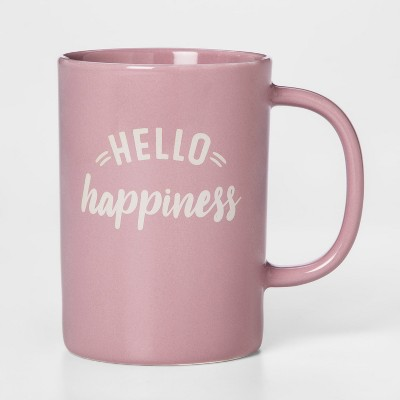 14oz Porcelain Hello Happiness Mug Pink - Threshold™