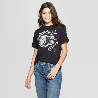 25424f5226 Women s Johnny Cash Short Sleeve T-Shirt - (Juniors ) - Black