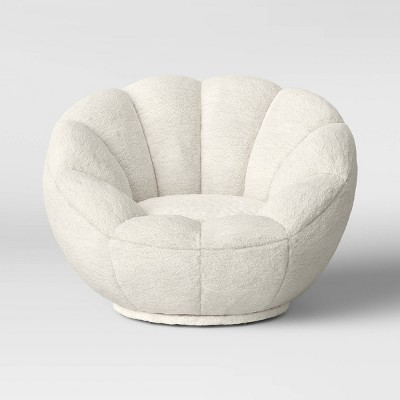 Kids' Sherpa Tulip Swivel Chair Cream - Pillowfort™