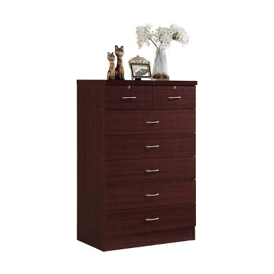 7 Drawer Chest with Lock On 2 Top Drawers - Hodedah Import