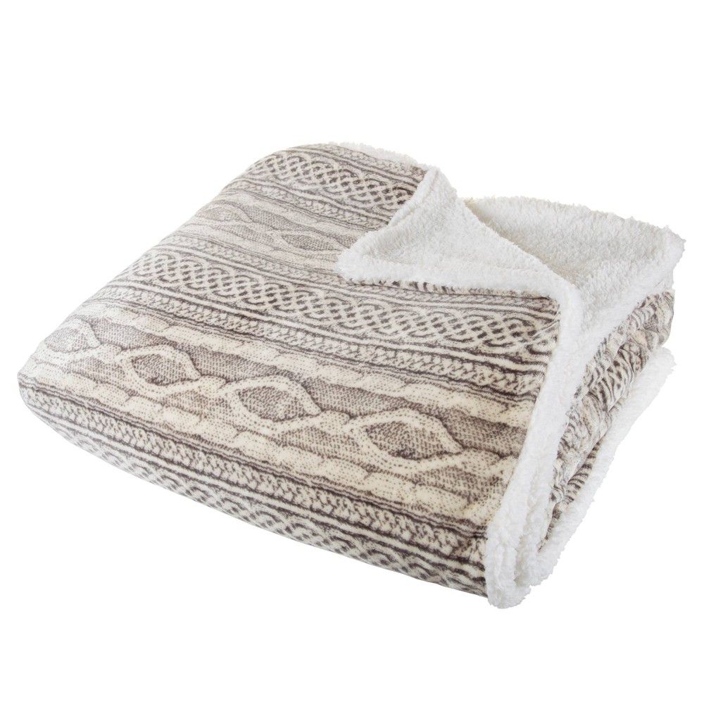 "Image of ""106""""x90"""" Flannel/Sherpa Throw Gray/Beige - Hastings Home"""