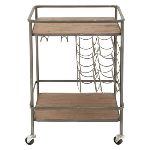 Metal and Wood 2- Tiered Wine Rack Chart Gray - Olivia & May - image 1 of 4
