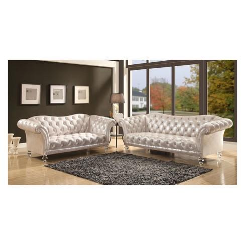 Acme Furniture Dixie Loveseat Metallic Silver Target