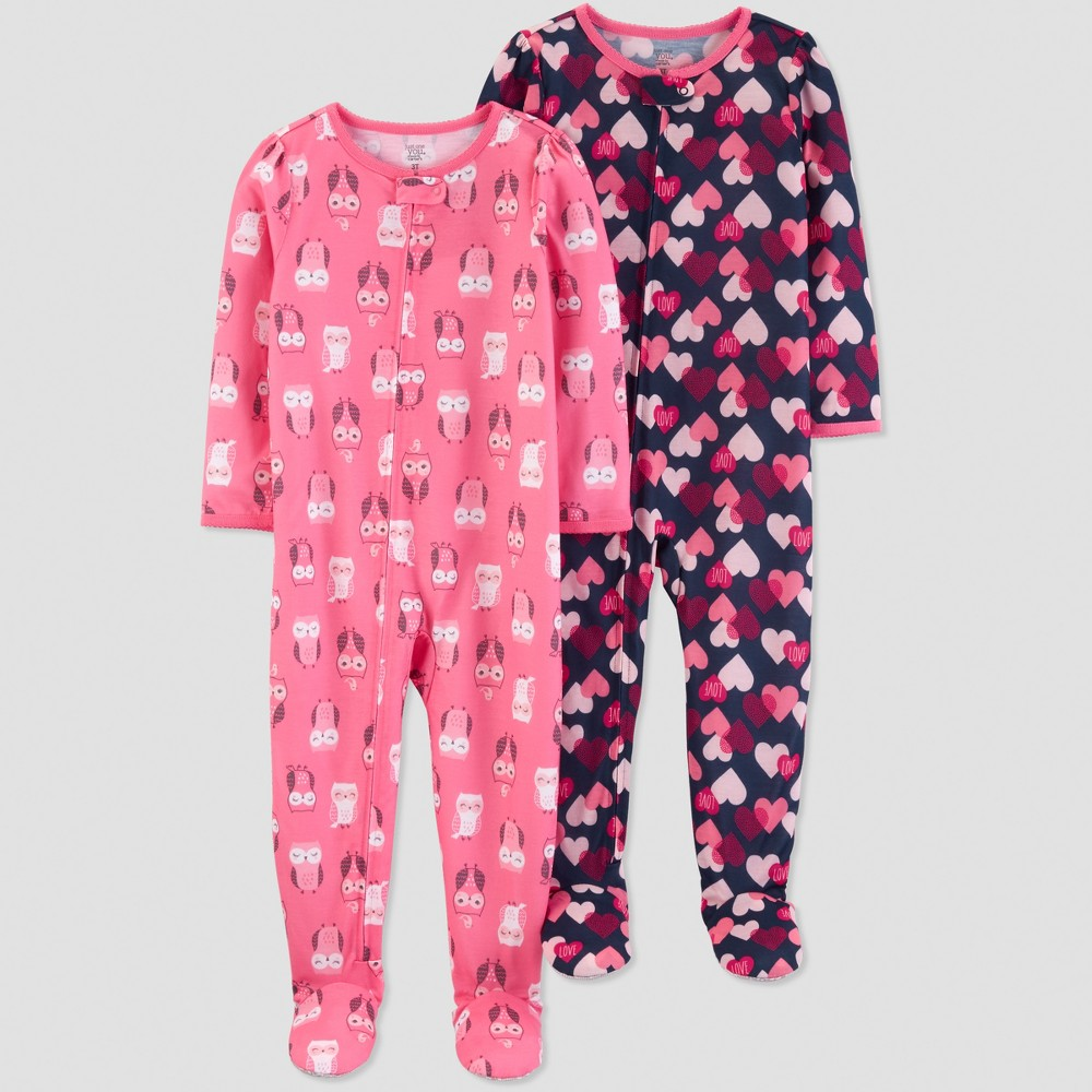 Toddler Girls' Owls One Piece Pajama - Just One You made by carter's Pink 2T