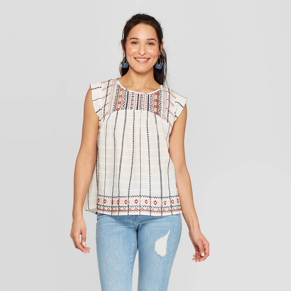 Women's 70s Shirts, Blouses, Hippie Tops Womens Striped Short Sleeve Round Neck Blouse - Knox Rose White XL $24.99 AT vintagedancer.com