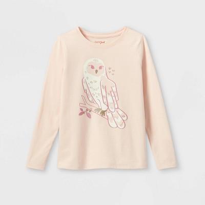 Girls' Owl Graphic Long Sleeve T-Shirt - Cat & Jack™ Light Peach M