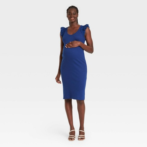 The Nines by HATCH™ Ruffle Short Sleeve Ribbed Maternity Dress - image 1 of 3