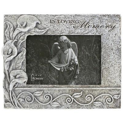 "Roman 4.25"" Gray ""In Loving Memory"" Memorial Floral Picture Frame"