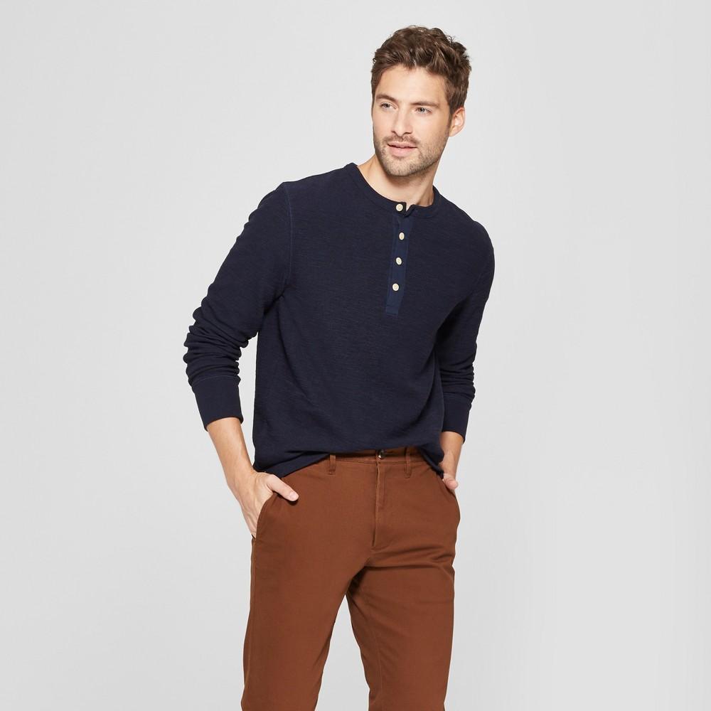 Men's Standard Fit Long Sleeve Textured Henley Shirt - Goodfellow & Co Federal Blue S
