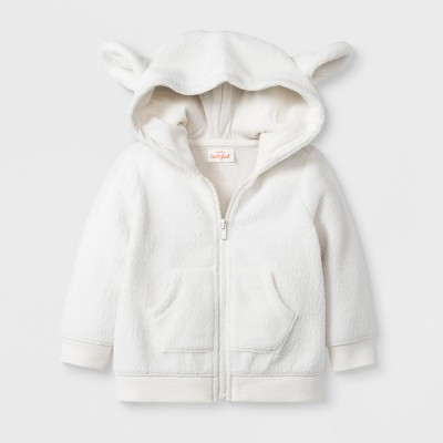 Baby Boys' Critter Zip-Up Sweater with Kangaroo Pocket and Hood - Cat & Jack™ White 12M