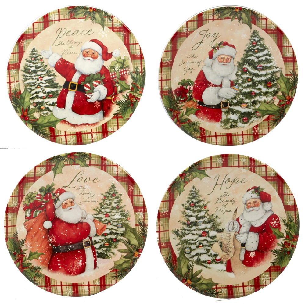 6 4pk Holiday Wishes Ceramic Appetizer Plates - Certified International