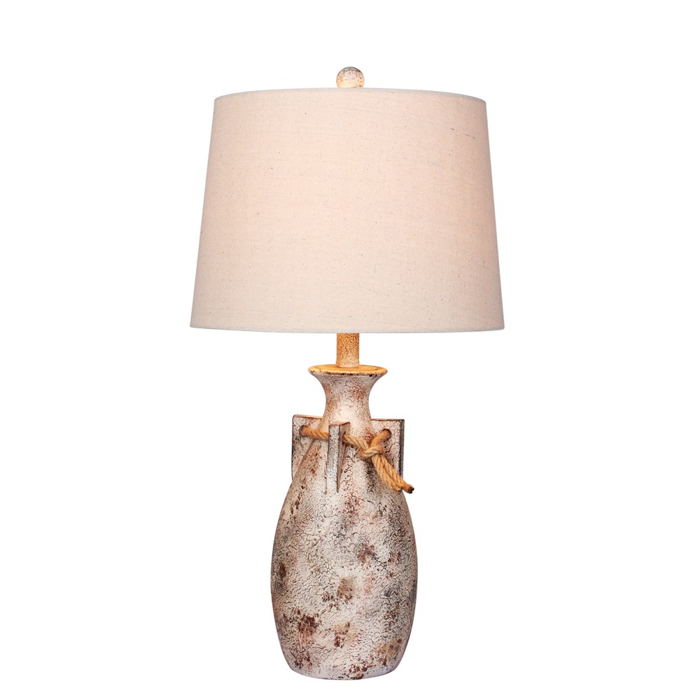 Distressed Jug with Rope Collar Resin Table Lamp Antique White (Lamp Only) - Fangio Lighting