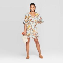 Women's Floral Print Elbow Sleeve V-Neck Mini Dress - Xhilaration™ Light Blue
