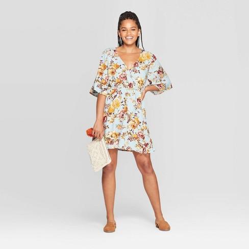 Women's Floral Print Elbow Sleeve V-Neck Mini Dress - Xhilaration™ Light Blue - image 1 of 2