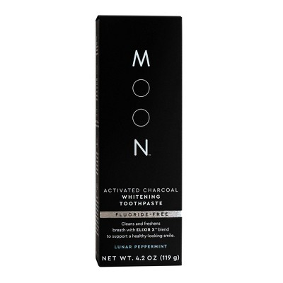 Moon Activated Charcoal Fluoride-Free Whitening Vegan Paraben + SLS Free Lunar Peppermint Toothpaste - 4.2oz
