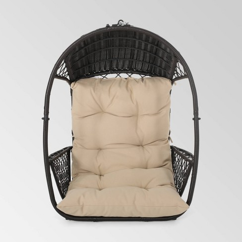 Malia Outdoor Wicker Hanging Chair, Outdoor Swing Chairs With Stand