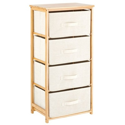 mDesign Bamboo Dresser Storage Tower with 4 Fabric Drawers
