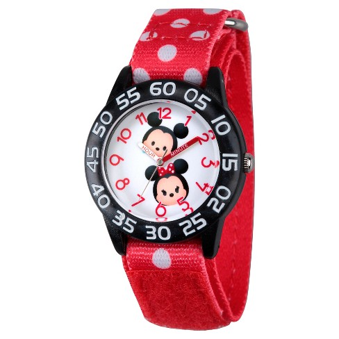 Boys' Disney Mickey Mouse and Minne Mouse Black Plastic Time Teacher Watch - Red - image 1 of 2