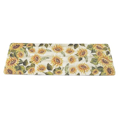 """1'8""""x5' Rectangle Floral Runner Yellow - The Lakeside Collection"""
