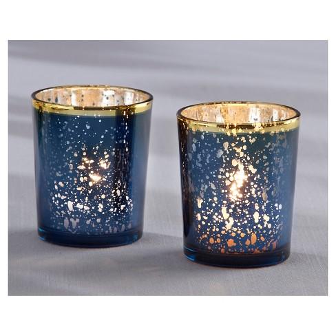 9713af481a9c 12ct Mercury Glass Tealight Holder Blue - Kate Aspen®   Target