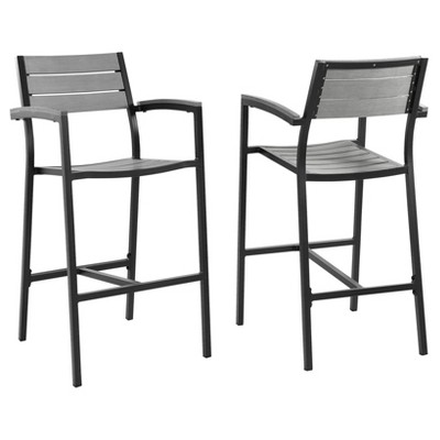 Maine Bar Stool Outdoor Patio Set of 2 in Brown Gray - Modway