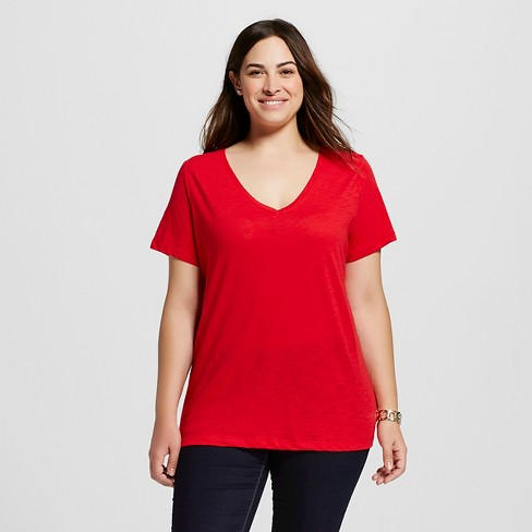 Women's Plus Size V-Neck T-Shirt - Ava & Viv™ - Really Red 2X - image 1 of 2