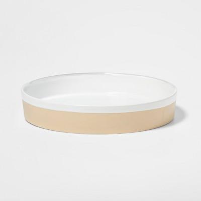 14  x 2.5  Decorative Stoneware Tray Cream - Threshold™