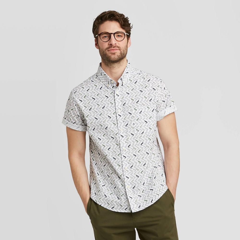 Men's Standard Fit Short Sleeve Button-Down Shirt - Goodfellow & Co Stone Gray S, Grey Gray was $19.99 now $12.0 (40.0% off)