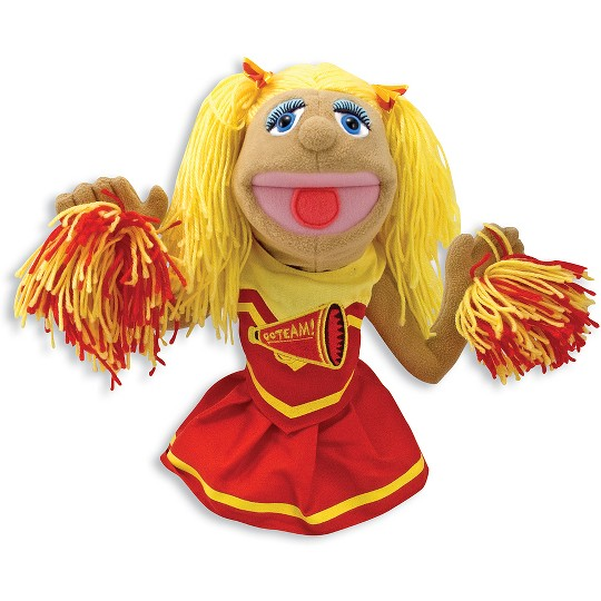 Melissa & Doug Cheerleader Puppet With Detachable Wooden Rod image number null