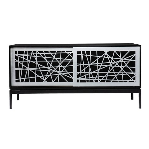 Thall Contemporary Media Cabinet Black/Silver - Aiden Lane - image 1 of 4