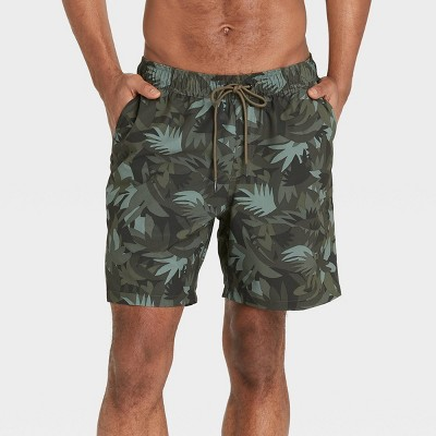 "Men's 7"" Camo Print with Liner Hybrid Swim Trunks - Goodfellow & Co™ Green"