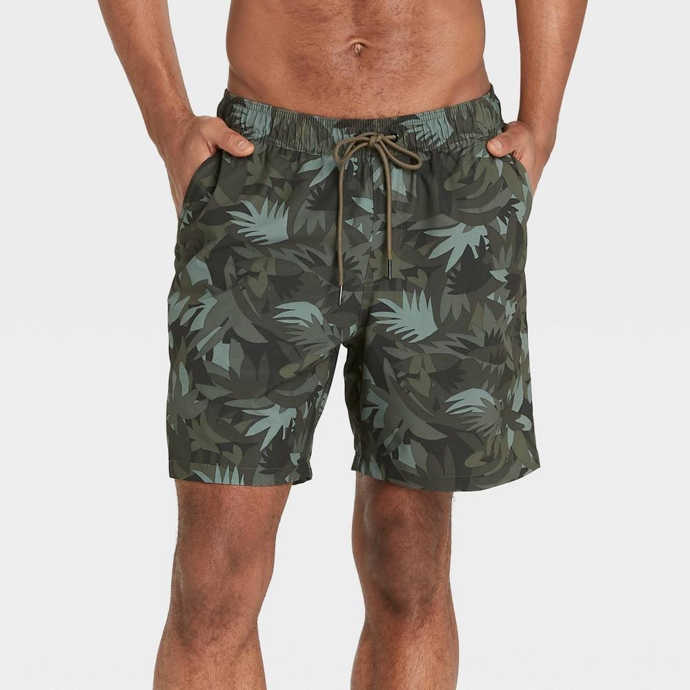 Men 39 S 7 34 Camo Print With Liner Hybrid Swim Trunks Goodfellow 38 Co 8482 Green 2xl
