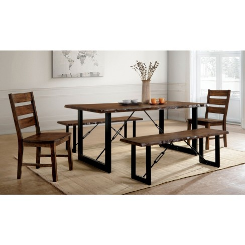 Iohomes Kopec Industrial Style Dining Table 5pc Set Walnut Homes