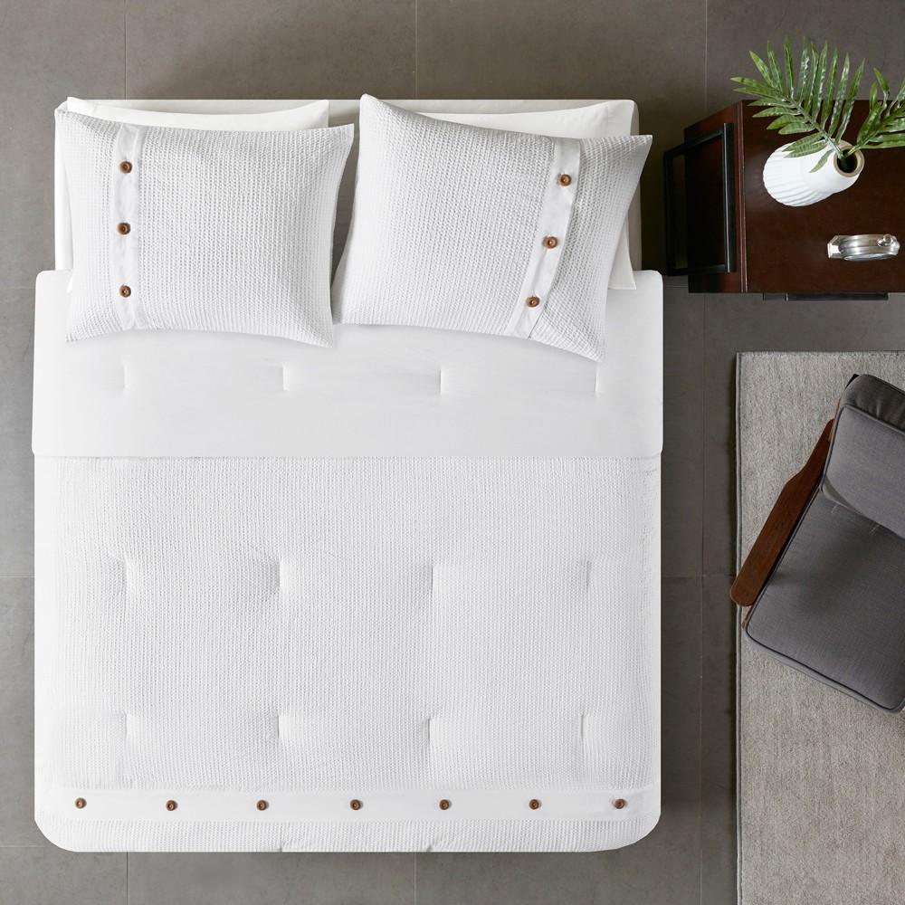 3pc King/Cal King Lucina Cotton Waffle Weave Comforter set White