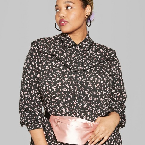 Womens Plus Size Long Sleeve Button Up Floral Western Shirt Dress