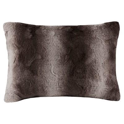 Gray Marselle Faux Fur Throw Pillow (14 x20 )