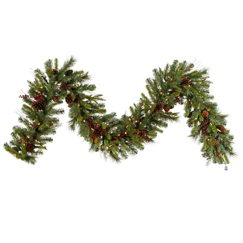 vickerman 9 cibola mixed berry artificial christmas garland with 100 warm white led lights