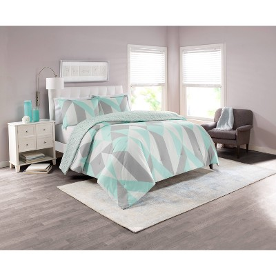 3pc King Colorblock Lena Reversible Comforter Set Aqua - Marble Hill