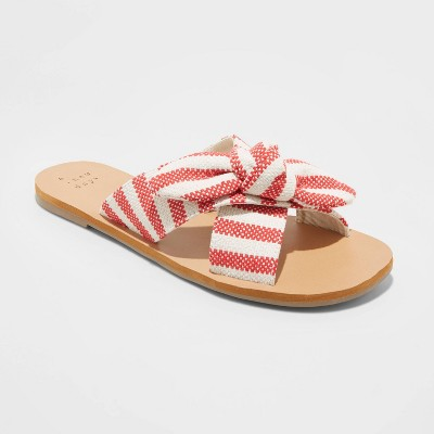 Women's Livia Stripe Knotted Bow Slide Sandals - A New Day™ Red 7.5