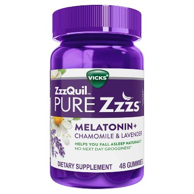 Vicks ZzzQuil Pure Zzzs Vegan Gummies - Melatonin + Chamomile & Lavender - Wildberry Vanilla - 48ct
