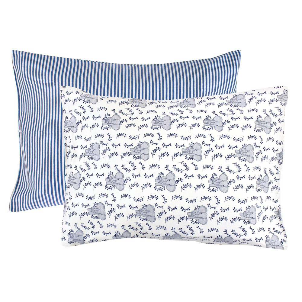 Touched By Nature Unisex Baby And Toddler Organic Cotton Toddler Pillowcase Blue Elephant One Size